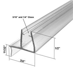 Universal Clear Shower Door Bottom Sweep With Drip Rail